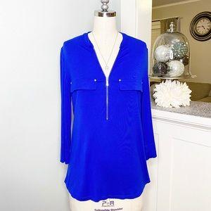 Calvin Klein Blue Zip Up Roll Sleeve Blouse